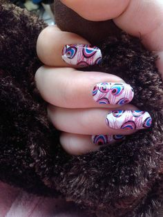 Really cool do it yourself nails! Pink & Purple Peacock
