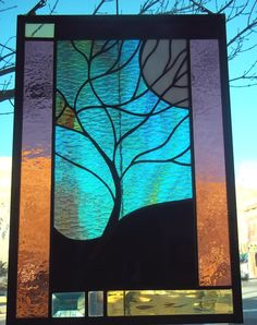 Moonlit Tree Stained Glass Window with Rare Green and by rneely, $129.00