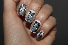 Frankenweenie nail art #nailart #frankenweenie