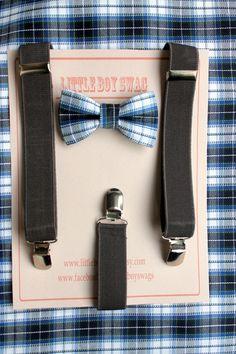 Blue Plaid bow tie suspenders set..Kids Clothing..Ring bearer outfit..Baby boy suspenders..Kids bow tie set..Boys wedding outfit..Baby Boy