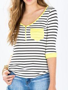 Monochrome Stripe Zipper V Neck Half Sleeve T-shirt