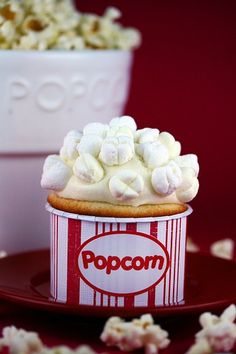 Popcorn Cupcake with butter cream frosting and marshmallows!!!