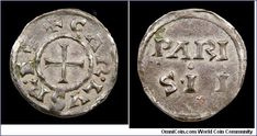 Charles the Bald Denier (Coin/Penny), King of France 840-875, Emperor 875-877, Class 1a Mint Name Denier, 840-864, MEC 833, Depreyot 761 - Charles was the son of Louis's second wife and thus in conflict over inheritance with his three step-brothers. He out lived them all and went on to become the most educated, perhaps most successful of the post-Charlemagne emperors. Three cities struck mint name deniers. Grierson suggests that the Paris mint resurrected this type following the death of…
