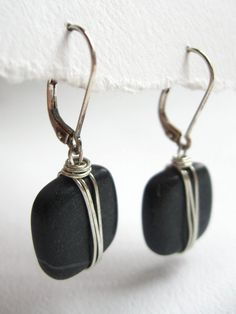 Black Wire Wrapped Stone Earrings River by ShootingStarVermont, $25.00