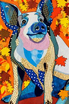 """Cut paper collage """"Autumn Pig"""" by Laura Yager"""