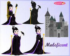 Maleficent vs Aurora: Sleeping Beauty Clipart Set -- PNG &JPEG format