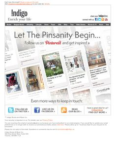 Chapters Pinterest Email - Subject Line 'We ♥ Pinterest!' #email #chapters #indigo