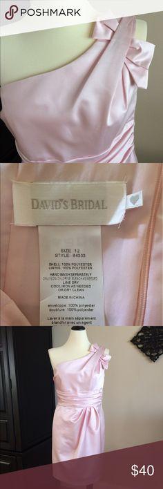"One-shoulder Pink Satin Formal Dress Classy, Formal Pastel w/ Ruched detail + zippered back.  Measurements: 28"" Long underarm to hem, 29"" Bust, 32.5"" waist, 42.5"" Hip.  Social, Bridesmaid David's Bridal Dresses Midi"