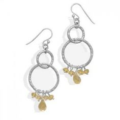 Hammered Circle and Citrine Earrings