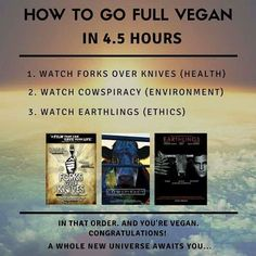 Forks Over Knives, Cowspiracy, and the documentary Earthlings (which Joaquin Phoenix calls the film he is most proud of) are a great place to start. Some if not all of these are on Netflix.