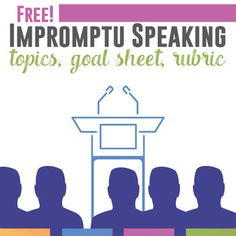 Free Impromptu Speaking Activity: add this FREE activity to any public speaking unit or class. Get students thinking and organizing their thoughts quickly.