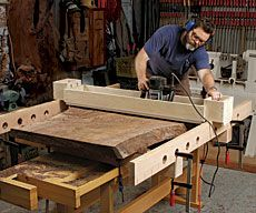 Level Big Slabs in No Time Flat NBC sitcom star cooks up router jigs and Nakashima-style furniture in his L. Essential Woodworking Tools, Woodworking Workshop, Woodworking Jigs, Carpentry, Woodworking Projects, Woodworking Supplies, Popular Woodworking, Router Sled, Router Jig