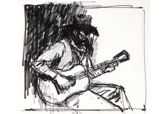 Cowboy Poet Drawing, C. 1970 Expressive drawing by Marlboro Man illustrator William Henry Ford of a cowboy poet playing the guitar, circa Guitar Sketch, Guitar Drawing, Marlboro Man, Man Sketch, Sounds Good To Me, Henry Ford, Vintage Market, Playing Guitar, Tatuajes