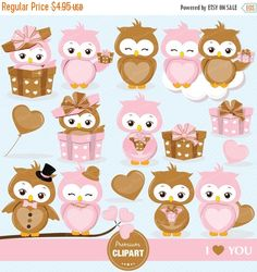80% OFF SALE Valentine owls clipart, Valentines day clipart, Valentine clipart, Love owl, Owl clipart, Love birds clipart - CA340 by PremiumClipart on Etsy