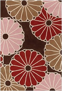 Parasols Pattern New Zealand Wool Area Rug in Taupe and Persimmon design by Thomas Paul