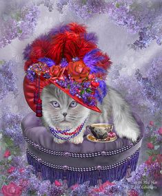 Oh, how fun is that For this fancy lady cat Wearing a big red hat.  Cat In The Red Hat prose by Carol Cavalaris  This fanciful artwork of a cat wearing a big fancy red hat decorated with red and purple feathers, flowers and jewels, pays tribute to the lovely ladies in the Red Hat Society. From the Cats In Fancy Hats collection by Carol Cavalaris.