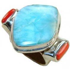 Blue and Orange Colors That Have a Great Combination. How Do You Find This Ring with Larimar, Coral Gemstones? $115.20