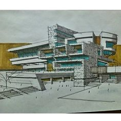 not much marker has been used in the picture, however, where marker has been used is very effective in showing where the sunlight is coming from and different materials Kinetic Architecture, Architecture Design, Architecture Graphics, Architecture Student, Modern Architecture House, Architecture Drawings, Concept Architecture, Building Sketch, House Sketch