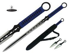 "Mouse over image to zoom 27"" Ninja Sword Machete Throwing Knife Full Tang Tactical Blade BLUE Katana"