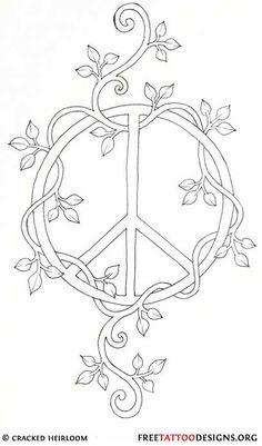 ☮ American Hippie Art ~ Color it Yourself .. Peace sign vine
