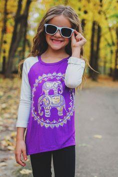Kids Purple Ragan Foil Elephant Graphic Top – UOIOnline.com: Women's Clothing Boutique