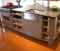 Love the efficiency/layout of this kitchen island. Contemporary Kitchen Island Design, Pictures, Remodel, Decor and Ideas Kitchen Island With Stove, Industrial Kitchen Island, New Kitchen, Kitchen Dining, Kitchen Ideas, Kitchen Islands, Island Cooktop, Island 2, Kitchen Stove