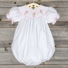 Pink Cross Smocked Bubble White