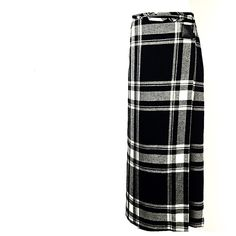 RALPH LAUREN WOOL WRAP SKIRT 4 S Vintage skirt worn gently. Classic wrap skirt in a black and white plaid. Wraps around the waist black leather signature stamp that holds in place. Falls to ankle length. Retail $750 Ralph Lauren Skirts Maxi
