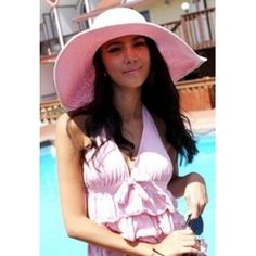 Wholesale Causal & Hot Large Eaves Pure Color Hat----Pink top dresses