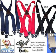 724fedf60d9 Ski-Ups™ suspenders from HoldUp® are a must for the active skiier or  snowboarder. Our patented