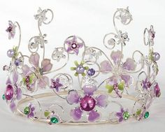 Lavender Jeweled & Floral Cake Crown Topper