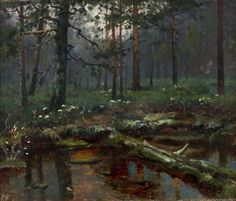 """art-and-things-of-beauty: """" Ellen Favorin - Forest landscape, oil, 28 x 33 cm. Forest Landscape, Landscape Art, Landscape Paintings, Landscapes, European History, Art History, Sans Art, Amber Tree, Across The Universe"""