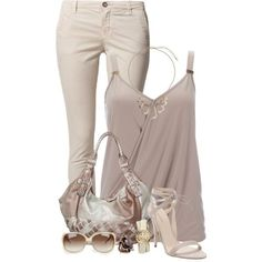Cool Summer Outfit: cami, pants, bag and heel sand