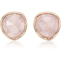 Monica Vinader Rose Gold Vermeil Siren Stud Earrings - Rose Quartz (505 BRL) ❤ liked on Polyvore featuring jewelry, earrings, accessories, brinco, rose jewelry, rose jewellery, stud earrings, earring jewelry and rose earrings
