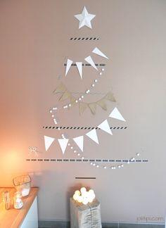 décoration de noël, sapin de noël mural, étoile et fanions, esprit nordique scandinave