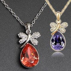 Aliexpress.com : Buy (Min.Order $15 Free Shipping)Water Drop Butterfly Pendant Necklaces Tops Charm Evening Dress Jewelry Gold 18K Plated from Reliable necklaces suppliers on  Jewelry Adore Kingdom $3.00