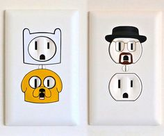 Give some personality to your humble abode by anthropomorphizing your walls with these electrical outlet stickers. These novelty decals add some color and life as they transform your plain outlets into some of your favorite television personalities. Light Switch Art, Light Switch Covers, Wall Painting Decor, Diy Painting, Diy Room Decor, Bedroom Decor, Bedroom Wall, Budget Bedroom, Gold Bedroom