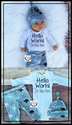 """Adorable Newborn baby Boy Coming Home Outfit. """"Hello World! I'm New Here!"""" #affiliate #newborn #babyboy #babyboyoutfits"""