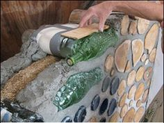 Cordwood masonry mixed with glass bottles...could be cool.