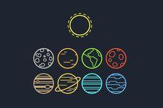 Solar system line icons by Irina Mir on @creativemarket