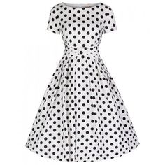 'Hazel' Monochrome Polka Swing Dress ($54) ❤ liked on Polyvore featuring dresses, dot dress, polka dot dress, pattern dress, tent dress y dot print dress