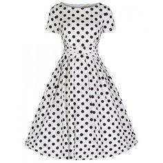'Hazel' Monochrome Polka Swing Dress ($54) ❤ liked on Polyvore featuring dresses, dot dress, polka dot dress, pattern dress, tent dress y dot print dress