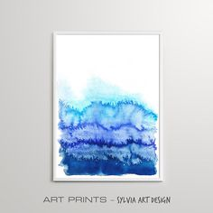 Watercolor Wall Art Print Downloadable Watercolour Indigo Blue Abstract Painting, Printable Wall Art, Different Colors, Wall Art Prints, Watercolour, Indigo, Tapestry, Posters, Paintings