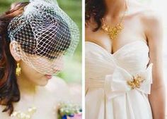 Beauty is in the details. We love the bride's heirloom quality birdcage, brooch, necklace and earrings!