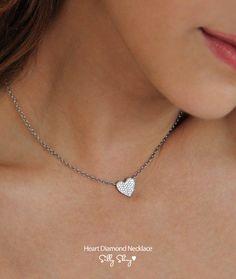 Heart Diamond Necklace 14K Gold 0.30ct by SillyShiny on Etsy, $788.00