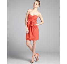 Suzi Chin tangerine cotton blend sweetheart strapless belted dress $24 on bluefly.com!!! Such a good deal