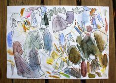 Vesivärimaalauksen kokeilupaperista löytyneitä hahmoja.