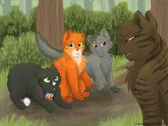 Tigerclaw scorning Firepaw, Graypaw, and poor scared Ravenpaw for playing instead of training ti be warriors