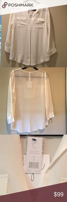 NWT Joie Marlo silk Blouse in Porcelain Beautiful blouse! Size small Joie Tops Blouses