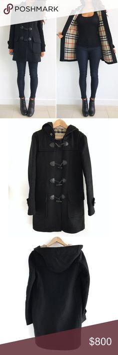 "Burberry Black Hooded Wool Coat Burberry Brit Black Hooded Wool Coat! Feel cozy and chic in this timeless piece! Excellent condition. Lined in the Burberry signature beige and red 'Haymarket' check. Front flap pockets. Leather detailing. Comfy hood. 100% wool. Size 4 fits true to size. Approx measurements- Chest-38"" Length-32.5"" sleeve length-25"" shoulders across- 17.5"" Burberry Jackets & Coats Pea Coats"